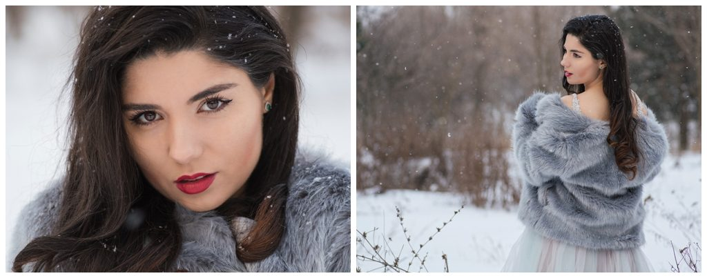 Mireasa la sedinta foto profesionista iarna cu zapada