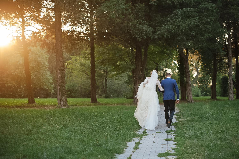 Fotografie de nunta padure de pini si miri cu spatele