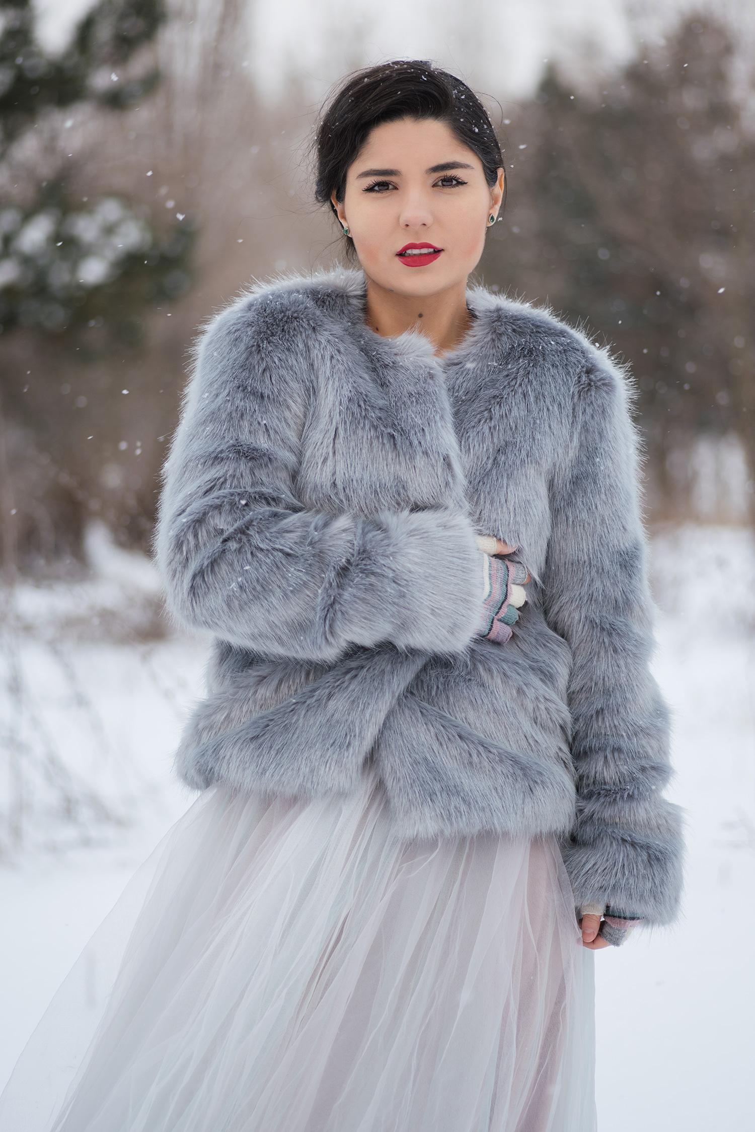 Portet de mireasa in natura pe ninsoare